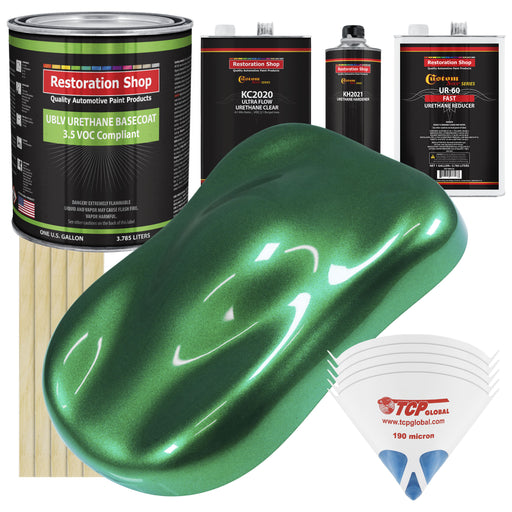 Emerald Green Metallic - LOW VOC Urethane Basecoat with Premium Clearcoat Auto Paint - Complete Fast Gallon Paint Kit - Professional High Gloss Automotive Coating