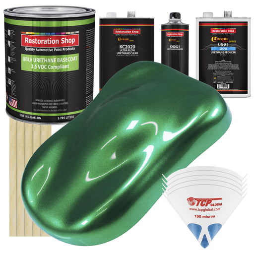 Emerald Green Metallic - LOW VOC Urethane Basecoat with Premium Clearcoat Auto Paint - Complete Slow Gallon Paint Kit - Professional High Gloss Automotive Coating