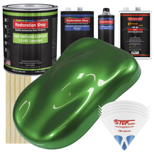 Gasser Green Metallic - LOW VOC Urethane Basecoat with Clearcoat Auto Paint - Complete Fast Gallon Paint Kit - Professional High Gloss Automotive Coating