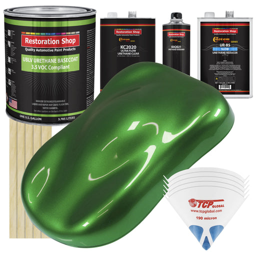 Gasser Green Metallic - LOW VOC Urethane Basecoat with Premium Clearcoat Auto Paint - Complete Slow Gallon Paint Kit - Professional High Gloss Automotive Coating