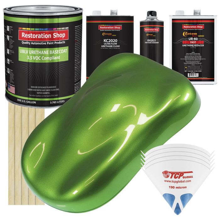 Synergy Green Metallic - LOW VOC Urethane Basecoat with Premium Clearcoat Auto Paint - Complete Fast Gallon Paint Kit - Professional High Gloss Automotive Coating