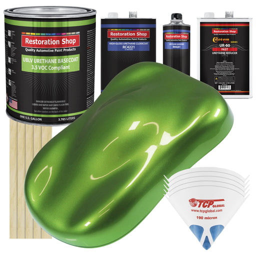 Synergy Green Metallic - LOW VOC Urethane Basecoat with Clearcoat Auto Paint - Complete Fast Gallon Paint Kit - Professional High Gloss Automotive Coating