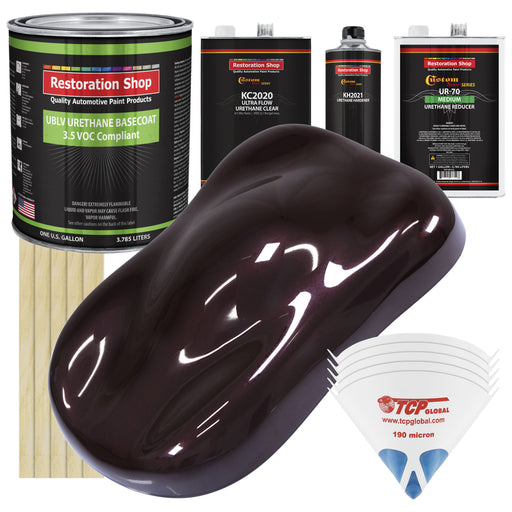 Black Cherry Pearl - LOW VOC Urethane Basecoat with Premium Clearcoat Auto Paint - Complete Medium Gallon Paint Kit - Professional High Gloss Automotive Coating