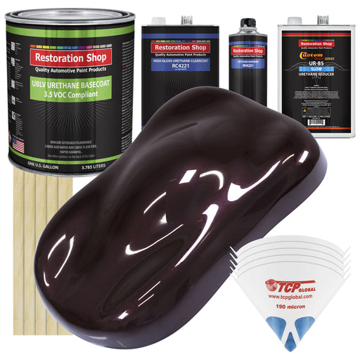 Black Cherry Pearl - LOW VOC Urethane Basecoat with Clearcoat Auto Paint - Complete Slow Gallon Paint Kit - Professional High Gloss Automotive Coating