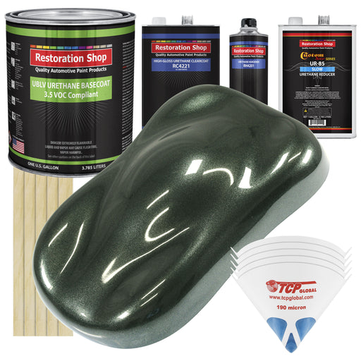 Fathom Green Firemist - LOW VOC Urethane Basecoat with Clearcoat Auto Paint - Complete Slow Gallon Paint Kit - Professional High Gloss Automotive Coating