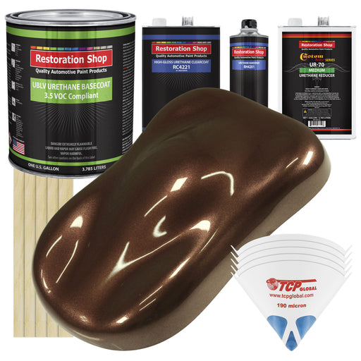 Saddle Brown Firemist - LOW VOC Urethane Basecoat with Clearcoat Auto Paint - Complete Medium Gallon Paint Kit - Professional High Gloss Automotive Coating