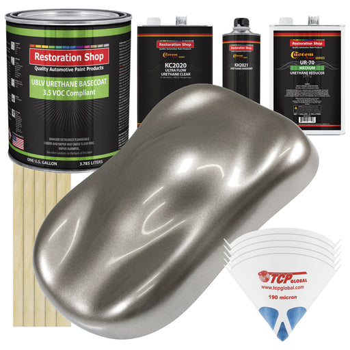 Firemist Pewter Silver - LOW VOC Urethane Basecoat with Premium Clearcoat Auto Paint - Complete Medium Gallon Paint Kit - Professional High Gloss Automotive Coating