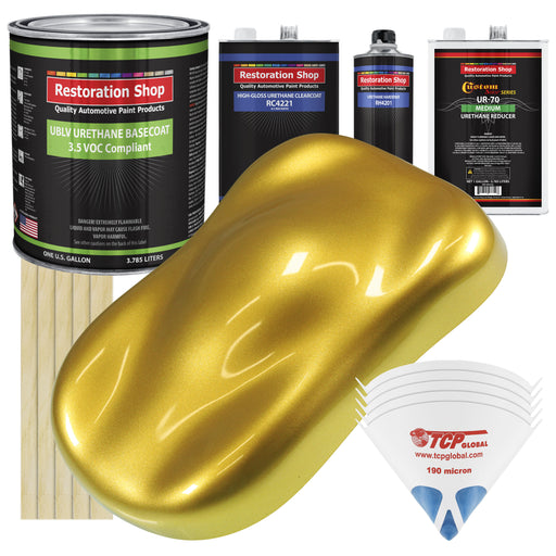 Saturn Gold Firemist - LOW VOC Urethane Basecoat with Clearcoat Auto Paint - Complete Medium Gallon Paint Kit - Professional High Gloss Automotive Coating