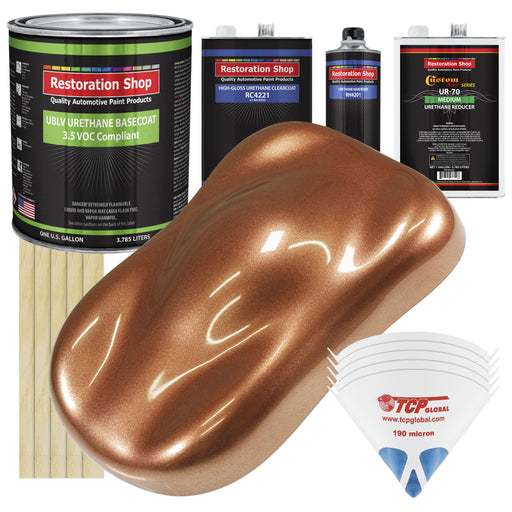 Bronze Firemist - LOW VOC Urethane Basecoat with Clearcoat Auto Paint - Complete Medium Gallon Paint Kit - Professional High Gloss Automotive Coating