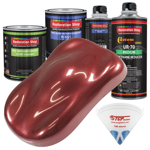 Firemist Red - LOW VOC Urethane Basecoat with Clearcoat Auto Paint - Complete Medium Quart Paint Kit - Professional High Gloss Automotive Coating