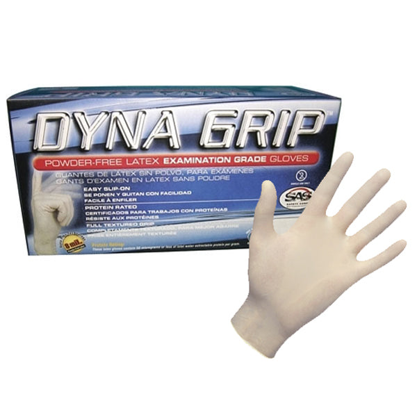 Dyna Grip Latex Powder-Free Disposable Gloves, Medium (100/Pack)