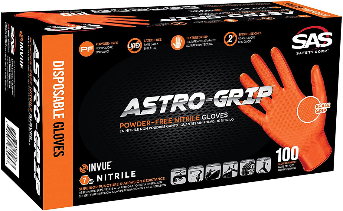 Astro-Grip Disposable Powder-Free Heavy Duty Nitrile Gloves - Large - Box of 100