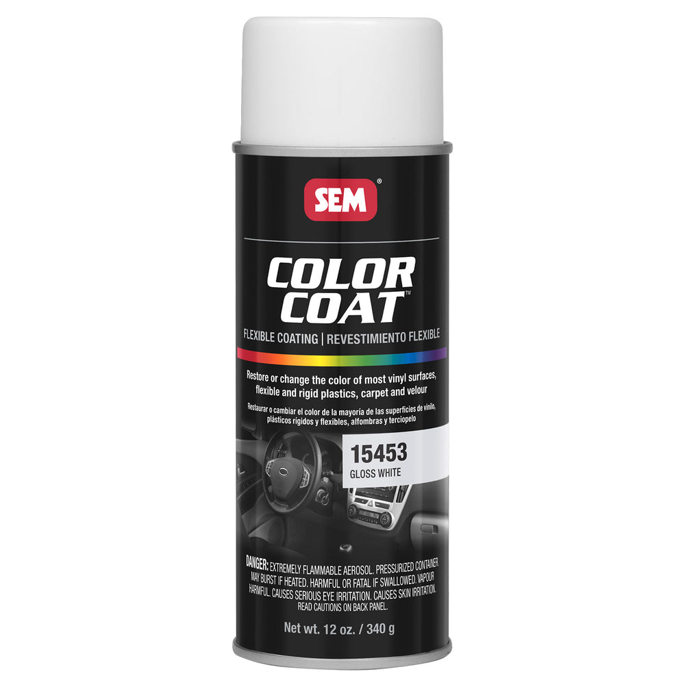 Color Coat - Plastic & Vinyl Flexible Coating, Gloss White, 12 oz. Aerosol