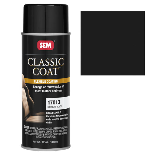 Classic Coat - Leather & Vinyl Flexible Coating, Midnight Black (Ford ZUEA), 12 oz. Aerosol