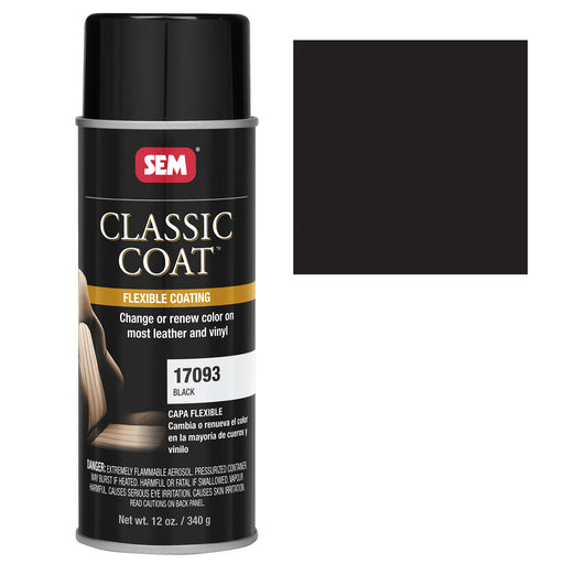 Classic Coat - Leather & Vinyl Flexible Coating, Black (GM 848), 12 oz. Aerosol