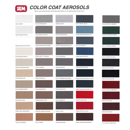 Color Coat - Color Card Chart for Plastic & Vinyl Flexible Coatings