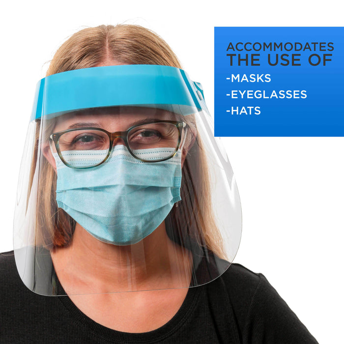 Face Shields - Case of 40 Packs (160 Shields) - Ultra Clear Protective Full Face Shields to Protect Eyes, Nose and Mouth - Anti-Fog PET Plastic, Elastic Headband