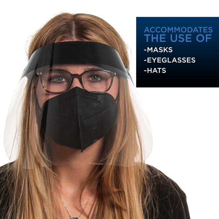 80 Black Face Shields (20 Packs of 4) - Ultra Clear Protective Full Face Shields to Protect Eyes, Nose and Mouth - Anti-Fog PET Plastic, Elastic Headband - Sanitary Droplet Guard