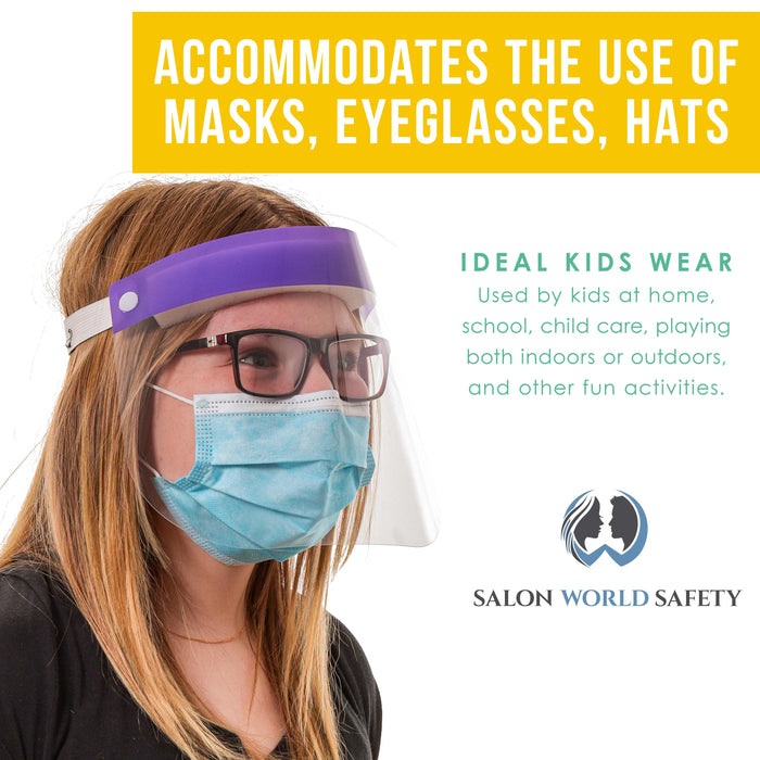 Salon World Safety Kids Face Shields (Pack of 5) - 5 Colors, 1 Each - Clear Protective Children's Full Face Shields to Protect Eyes, Nose, Mouth - Anti-Fog PET Plastic, Elastic Headband