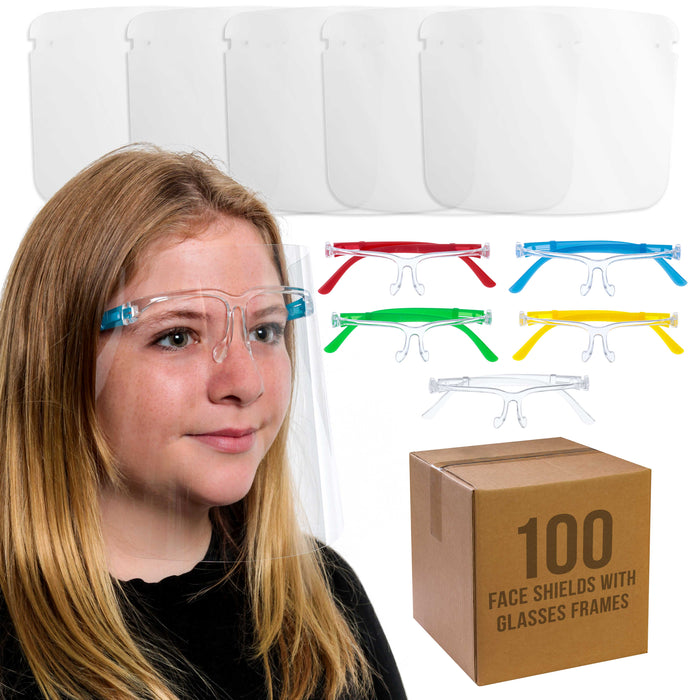 Salon World Safety 100 Kids Face Shields with Glasses Frames (20 Packs of 5) - 5 Colors, 20 Each - Protective Children's Full Face Shields to Protect Eyes Nose Mouth - Anti-Fog PET Plastic