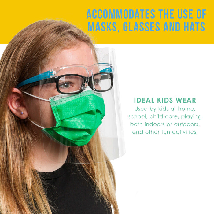 Salon World Safety Kids Face Shields with Glasses Frames (Pack of 10) - 5 Colors, 2 Each - Protective Children's Full Face Shields to Protect Eyes, Nose, Mouth - Anti-Fog PET Plastic Goggle
