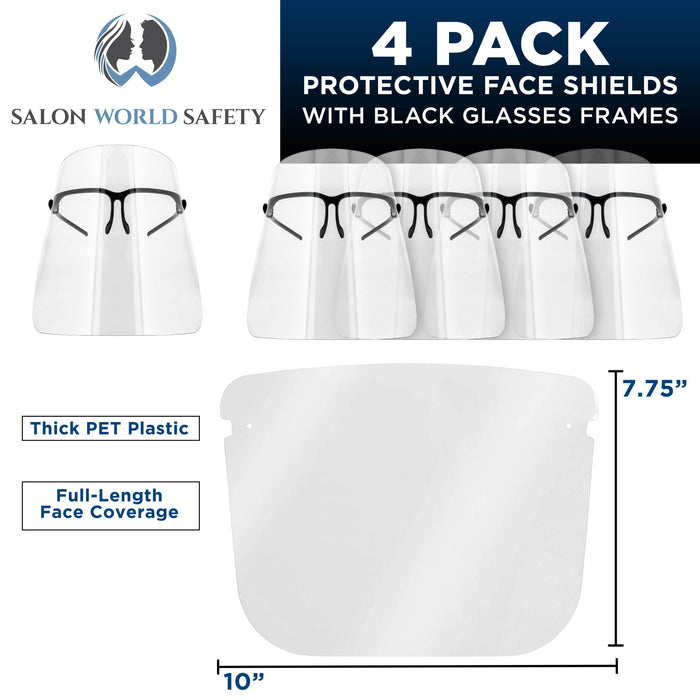 Safety Face Shields with Black Glasses Frames (Pack of 4) - Ultra Clear Protective Full Face Shields to Protect Eyes, Nose, Mouth - Anti-Fog PET Plastic, Goggles - Sanitary Droplet Splash Guard