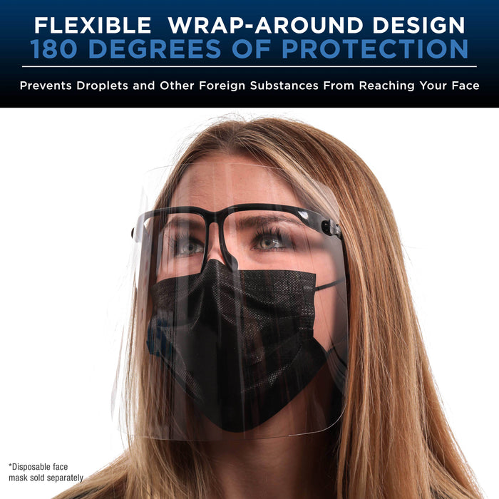 Salon World Safety Face Shields with Black Glasses Frames (20 Packs of 10) - Ultra Clear Protective Full Face Shields to Protect Eyes, Nose, Mouth - Anti-Fog PET Plastic, Goggles