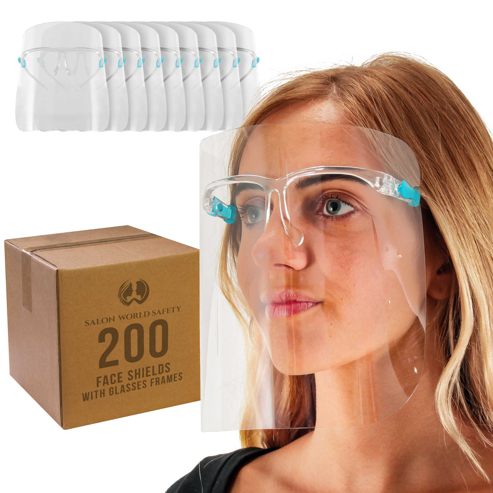 200 Safety Face Shields with Glasses Frames (20 Packs of 10) - Ultra Clear Protective Full Face Shields to Protect Eyes, Nose, Mouth - Anti-Fog PET Plastic, Goggles, Sanitary Droplet Guard