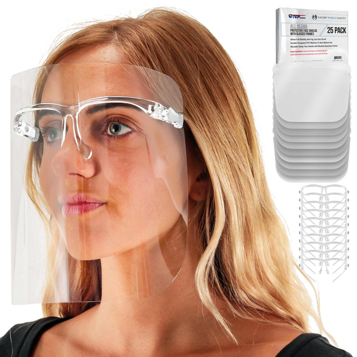 Safety Face Shields with All Clear Glasses Frames (Pack of 25) - Ultra Clear Protective Full Face Shields to Protect Eyes, Nose, Mouth - Anti-Fog PET Plastic, Goggles
