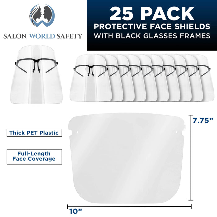 Safety Face Shields with Black Glasses Frames (Pack of 25) - Ultra Clear Protective Full Face Shields to Protect Eyes, Nose, Mouth - Anti-Fog PET Plastic, Goggles - Sanitary Droplet Splash Guard