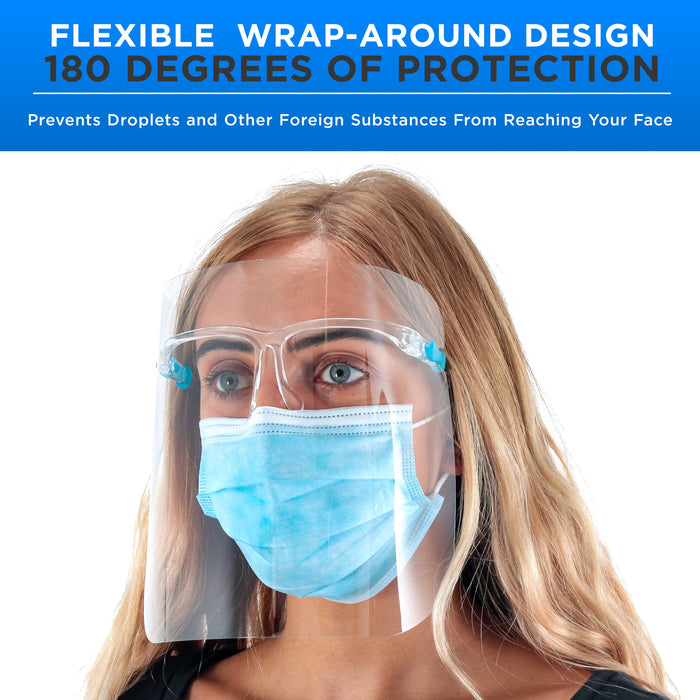 Safety Face Shields with Glasses Frames (Pack of 25) - Ultra Clear Protective Full Face Shields to Protect Eyes, Nose, Mouth - Anti-Fog PET Plastic, Goggles - Sanitary Droplet Splash Guard