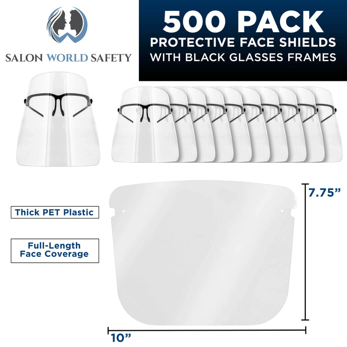 Salon World Safety Face Shields with Black Glasses Frames (20 Packs of 25) - Ultra Clear Protective Full Face Shields to Protect Eyes, Nose, Mouth - Anti-Fog PET Plastic, Goggles