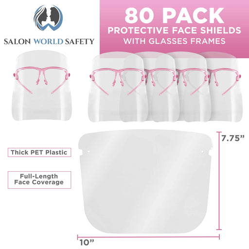 Salon World Safety Face Shields with Pink Glasses Frames (20 Packs of 4) - Ultra Clear Protective Full Face Shields to Protect Eyes, Nose, Mouth - Anti-Fog PET Plastic, Goggles