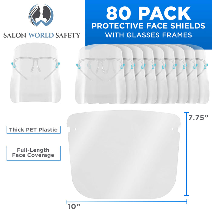 Salon World Safety Face Shields with Glasses Frames (20 Packs of 4) - Ultra Clear Protective Full Face Shields to Protect Eyes, Nose, Mouth - Anti-Fog PET Plastic, Goggles