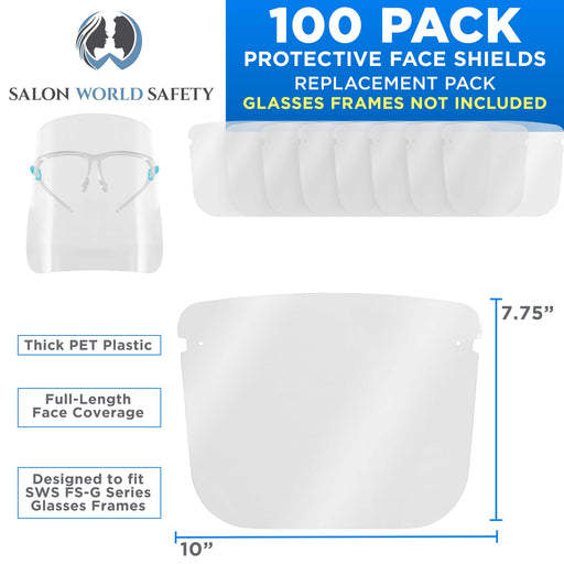 Salon World Safety Replacement Face Shields Only (10 Packs of 10), Glasses Frames Not Included ? Fits Most Brands, Ultra Clear, Full Face, Protect Eyes Nose Mouth, Anti-Fog PET Plastic