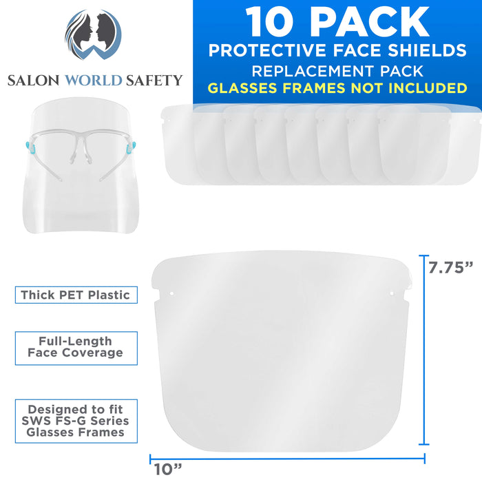 Replacement Face Shields Only (Pack of 10), Glasses Frames Not Included – Fits Most Brands, Ultra Clear, Full Face, Protect Eyes Nose Mouth, Anti-Fog PET Plastic, Goggles