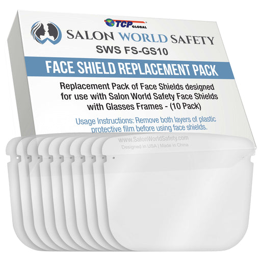 Replacement Face Shields Only (Pack of 10), Glasses Frames Not Included ? Fits Most Brands, Ultra Clear, Full Face, Protect Eyes Nose Mouth, Anti-Fog PET Plastic, Goggles