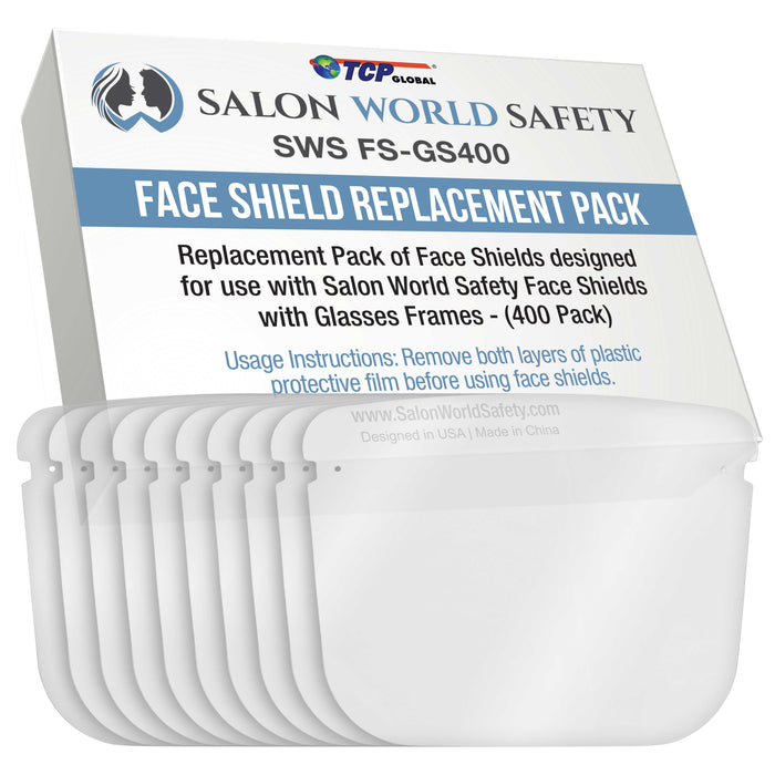 Salon World Safety Replacement Face Shields Only (40 Packs of 10), Glasses Frames Not Included ? Fits Most Brands, Ultra Clear, Full Face, Protect Eyes Nose Mouth, Anti-Fog PET Plastic