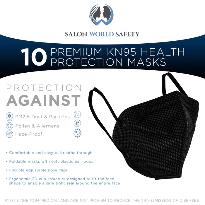 Black KN95 Protective Masks, Pack of 10 - Filter Efficiency ≥95%, 5-Layers, Protection Against PM2.5 Dust, Pollen, Haze-Proof - Sanitary 5-Ply Non-Woven Fabric, Safe, Easy Breathing