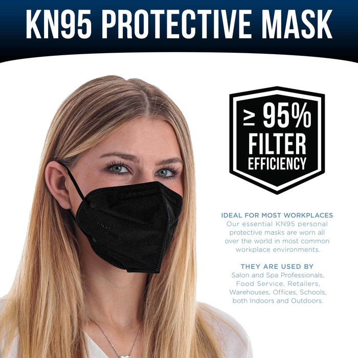 Black KN95 Protective Masks, Pack of 20 - Filter Efficiency ≥95%, 5-Layers, Protection Against PM2.5 Dust, Pollen, Haze-Proof - Sanitary 5-Ply Non-Woven Fabric, Safe, Easy Breathing