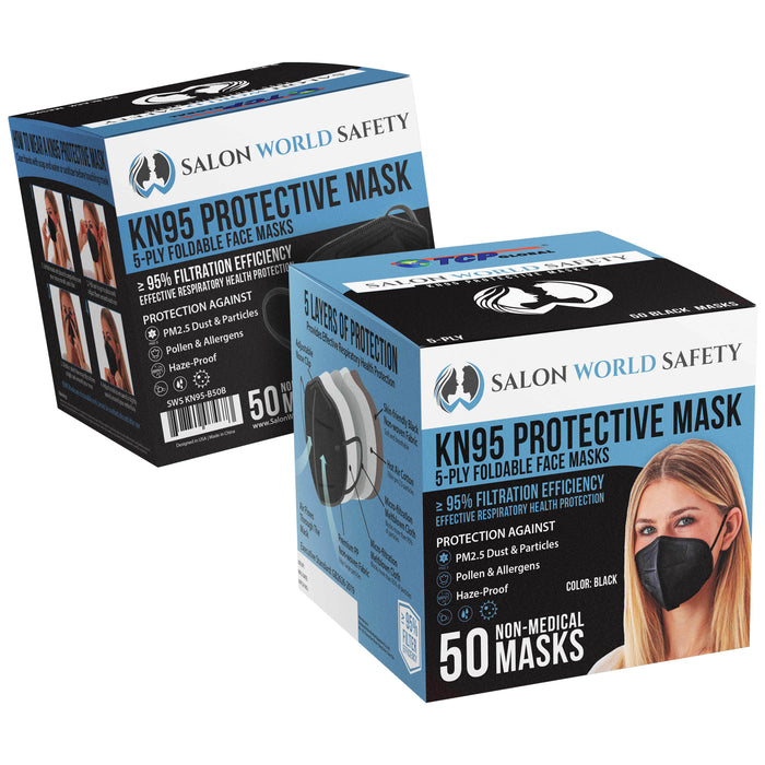 Black KN95 Protective Masks, Box of 50 - Filter Efficiency ≥95%, 5-Layers, Protection Against PM2.5 Dust, Pollen, Haze-Proof - Sanitary 5-Ply Non-Woven Fabric, Safe, Easy Breathing