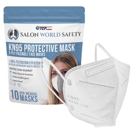 White KN95 Protective Masks, Pack of 10 - Filter Efficiency ≥95%, 5-Layers, Protection Against PM2.5 Dust, Pollen, Haze-Proof - Sanitary 5-Ply Non-Woven Fabric, Safe, Easy Breathing Wear
