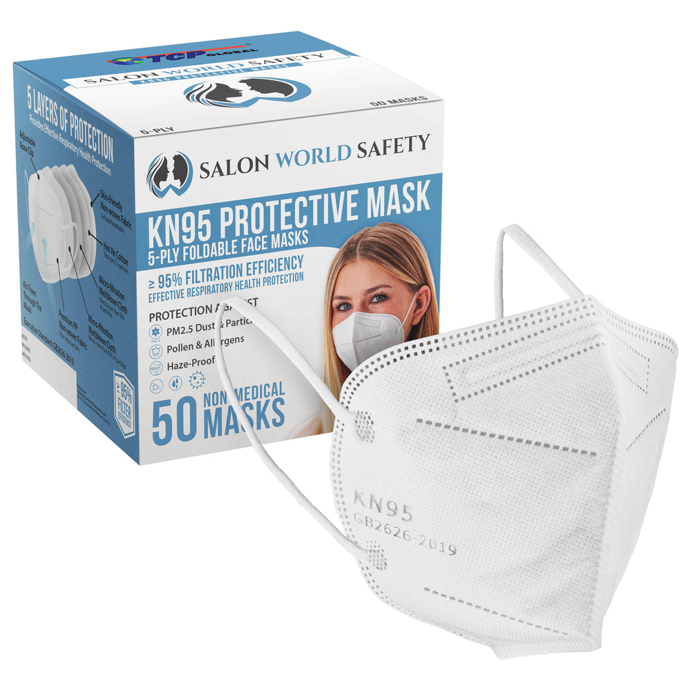 Salon World Safety KN95 Protective Masks, Filter Efficiency ≥95% - 5-Layer Disposable Face Masks, Nose Clip, Ear Loops - 5-Ply Non-Woven Fabric, Safe