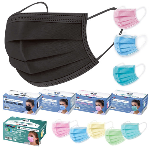 Black, Pink, Blue, Aqua Colored Face Masks Variety Pack (50ea Color = 200 Masks) Kids Face Masks (10ea Color=50 Masks) Family Breathable Disposable 3-Ply Protective PPE