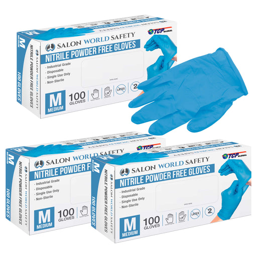 Salon World Safety Blue Nitrile Disposable Gloves, 3 Boxes of 100, Size Medium, 3.5 Mil Thick - Latex Free, Powder Free, Textured Tips, Food Safe, Comfortable, Extra-Strong Protective Working Gloves