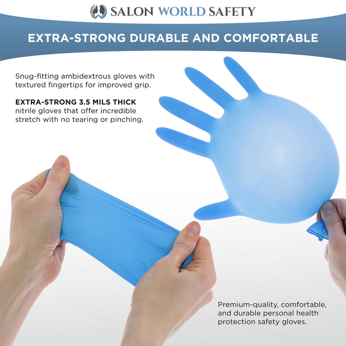 Salon World Safety Blue Nitrile Disposable Gloves, 10 Boxes of 100, Size Large, 3.5 Mil Thick - Latex Free, Powder Free, Textured Tips, Food Safe, Comfortable, Extra-Strong Protective Working Gloves