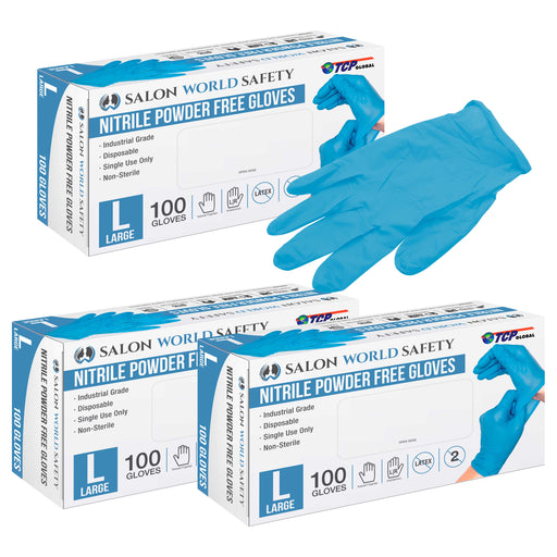 Salon World Safety Blue Nitrile Disposable Gloves, 3 Boxes of 100, Size Large, 3.5 Mil Thick - Latex Free, Powder Free, Textured Tips, Food Safe, Comfortable, Extra-Strong Protective Working Gloves
