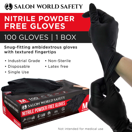 Salon World Safety Black Nitrile Disposable Gloves, Box of 100, Size Medium, 4 Mil Thick - Latex Free, Powder Free, Textured Tips, Food Safe, Comfortable, Extra-Strong Protective Working Gloves