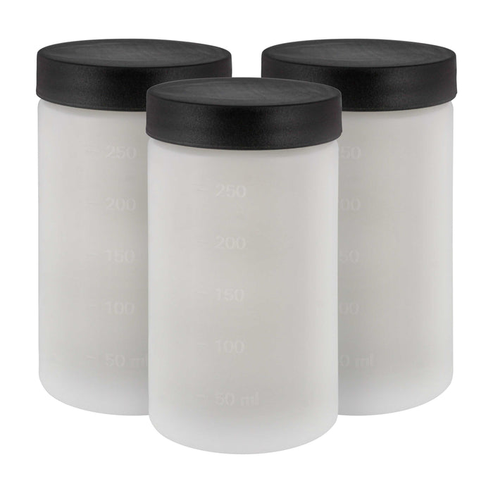 Belloccio C3-11 Sunless DHA Spray Tanning Solution Cups with Lids (Pack of 3) - 8 oz Plastic Cups Fit Belloccio Model G11 Metal Turbine Spray Tanning Applicator Gun - Replacement Jars, Storage Bottles