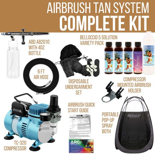 Pro Belloccio Airbrush Sunless Tanning System; Pint of Simple Tan 8% DHA Salon Sunless Tanning Solution, 4 Solution Variety Pack, Tent & Accessories